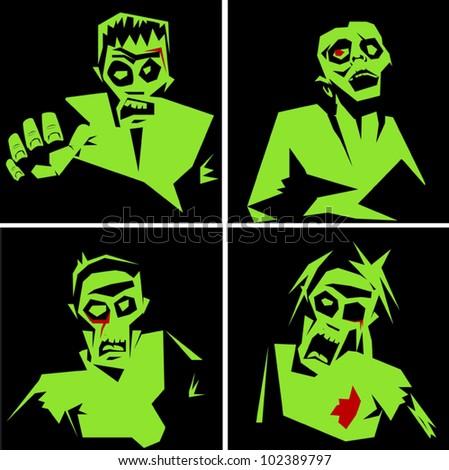 Zombies - stock vector