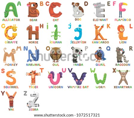 Zoo alphabet. Animal alphabet. Letters from A to Z. Cartoon cute animals isolated on white background. Different animals