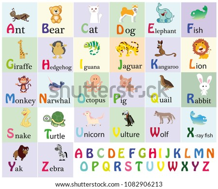 Cute Animal Alphabet Download Free Vector Art Stock Graphics Images