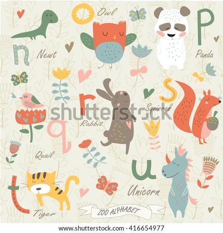 zoo alphabet with cute animals
