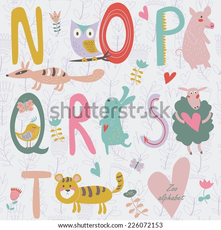 zoo alphabet with cute animals