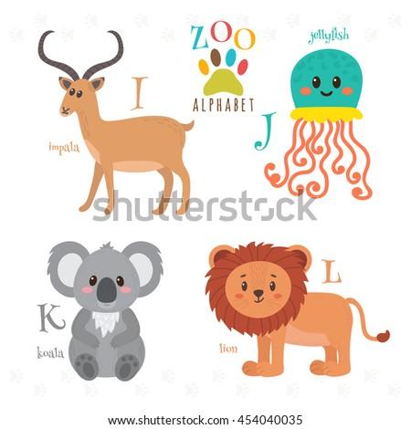 Zoo alphabet with funny cartoon animals. I, j, k, l letters. Impala, jellyfish, koala, lion. Vector illustration