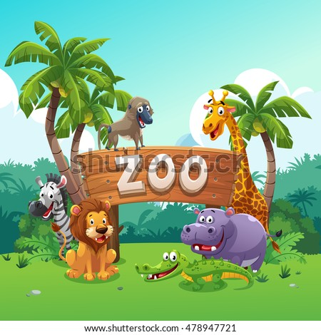 Zoo and animals cartoon style, vector art and illustration.