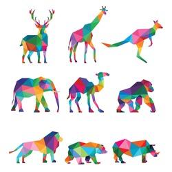 ZOO ANIMAL LOW POLY LOGO ICON SYMBOL SET. TRIANGLE GEOMETRIC KANGAROO, LION, GIRAFFE, CAMEL, DEER, BEAR,RHINO AND GORILLA POLYGON WILDLIFE