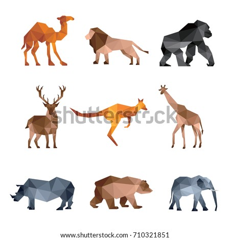 ZOO ANIMAL LOW POLY LOGO ICON SYMBOL SET. TRIANGLE GEOMETRIC KANGAROO, LION, GIRAFFE, CAMEL, DEER, BEAR,RHINO AND GORILLA POLYGON WILDLIFE