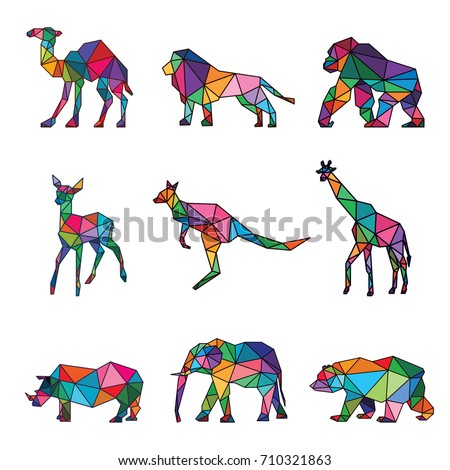zoo animal low poly logo icon