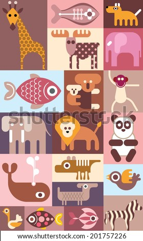 Zoo animals, birds and tropical fishes vector collage.
