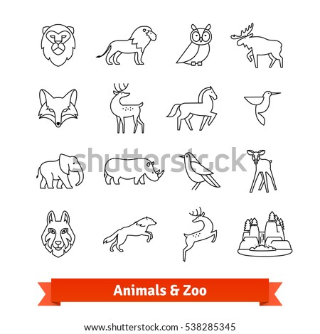 Zoo animals & birds. Thin line art icons set. Zoological garden wildlife, national park landscape. Linear style symbols isolated on white.