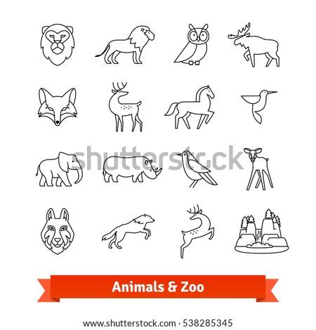 zoo animals   birds thin line