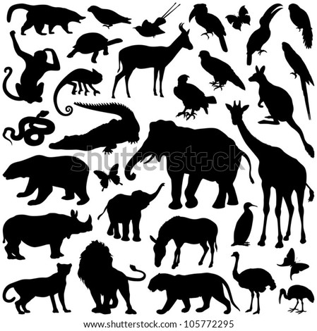 Shutterstock Zoo animals collection - vector silhouette