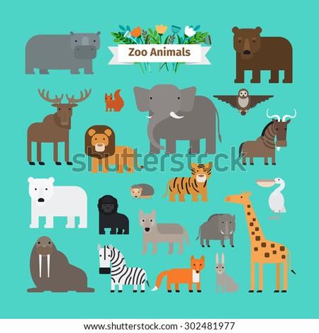 zoo animals flat design vector