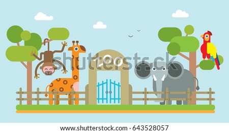 zoo animals giraffe elephant parrot monkey kids vector illustration park giraffe wild life animal zoo flat circle orange flat vector alphabet illustration long neck tall big children illustration