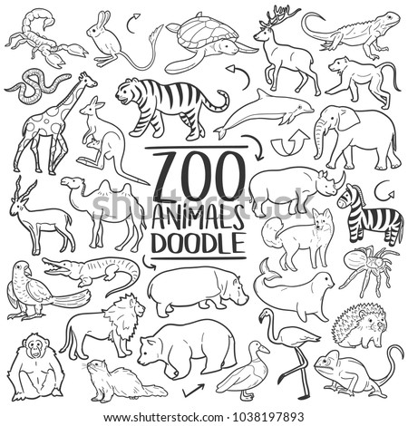Zoo Animals Traditional Doodle Icons Sketch Hand Made Design Vector