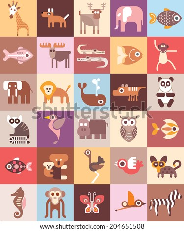 Zoo Animals - vector illustration. Graphic design with variety animal icons.