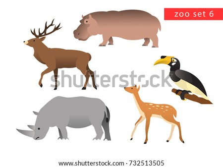 zoo animals vector logo icon set 6
