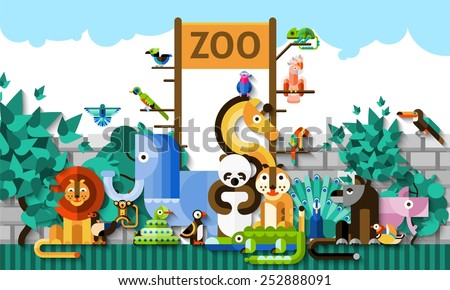 Zoo background with colorful paper african jungle animals and birds vector illustration