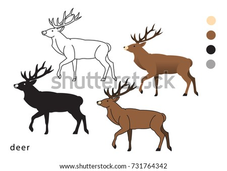 zoo deer vector icon logo