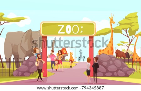 Zoo entrance gates cartoon poster with elephant giraffe lion safari animals and visitors on territory vector illustration