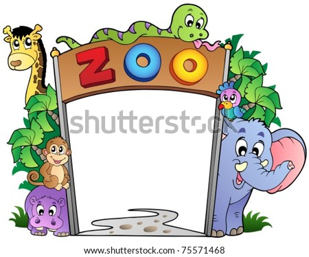 Zoo entrance with various animals - vector illustration. - stock vector