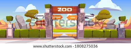 Zoo gates with pointers to wild animals cages monkeys, zebras, giraffes, lions, penguins and elephants. Outdoor park entrance with green bushes fencing and stone pillars. Cartoon vector illustration Stock foto ©