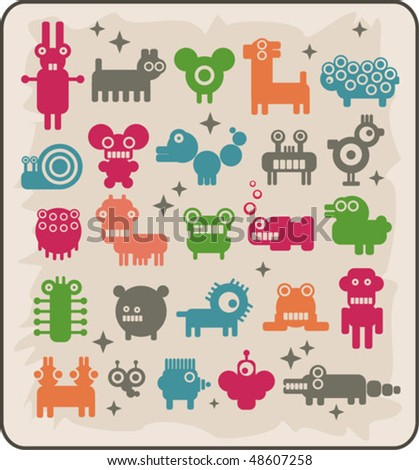 Zoo of robots coming from the other planets. Rare animals. Vector illustration.