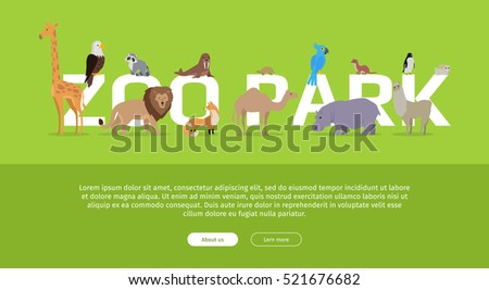 Zoo Park banner. Various animals stands or sits near letters. Poster for the zoo with giraffe, lion, fox, camel, penguin, raccoon, hippo, parrot, turtle, llama on green background. Website template