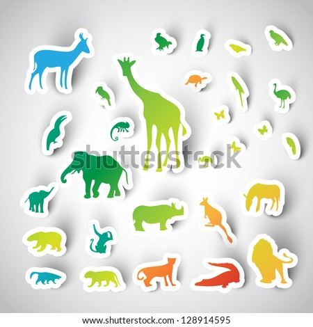 Zoo sticker animals collection, vector