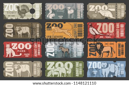 Zoo tickets for zoological park admit with wild animals. Vector vintage design of African lion, hippopotamus or puma and bear, elk or buffalo with wolf or fox and squirrel