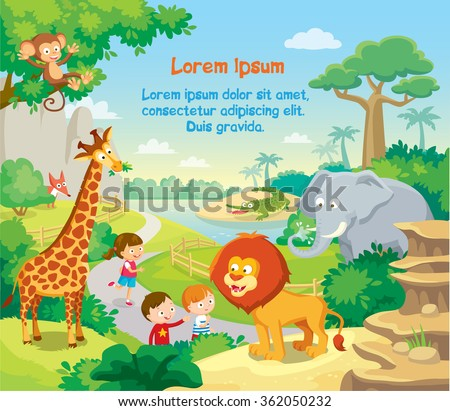 zoo with wild african animals, kids watching and background