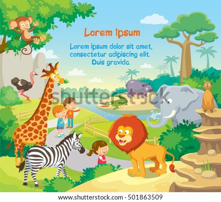 Zoo with wild african animals of savannah and kids