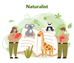 Zoologist concept. Scientist exploring and studying fauna. Wild animal rotection, expedition to wild nature. Isolated vector illustration