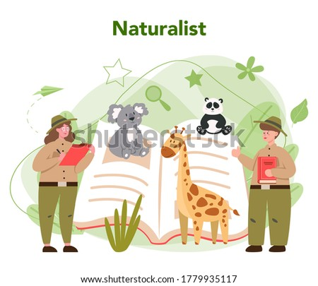 Zoologist concept. Scientist exploring and studying fauna. Wild animal rotection, expedition to wild nature. Isolated vector illustration Zdjęcia stock ©