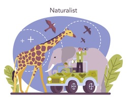 Zoologist concept. Scientist exploring and studying fauna. Wild animal studying and protection, naturalist going on expedition to wild nature. Isolated vector illustration
