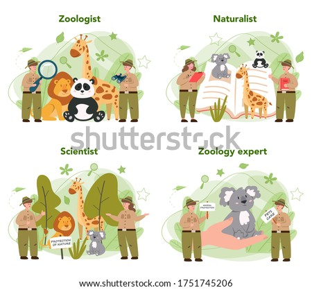 Zoologist concept set. Scientist exploring and studying fauna. Wild animal rotection, expedition to wild nature. Isolated vector illustration Zdjęcia stock ©