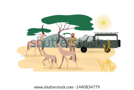 Zoologist Exploring African Fauna Illustration. Wilderness Area, Expedition to Africa. Safari, Road Trip, Active Tourism. Zoological Expedition, Male Explorer Photographing Animals Faceless Character Zdjęcia stock ©