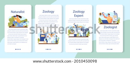 Zoologist mobile application banner set. Scientist exploring and studying fauna. Wild animal studying and protection, naturalist going on expedition to wild nature. Isolated vector illustration Zdjęcia stock ©