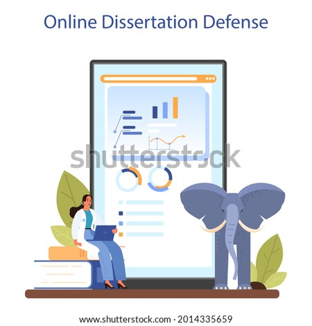Zoologist online service or platform. Scientist exploring and studying fauna. Animal studying and protection. Online dissertation defense. Isolated vector illustration Zdjęcia stock ©
