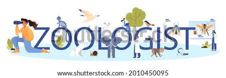 Zoologist typographic header. Scientist exploring and studying fauna. Wild animal studying and protection, naturalist going on expedition to wild nature. Isolated vector illustration Zdjęcia stock ©