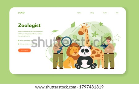 Zoologist web banner or landing page. Scientist exploring and studying fauna. Wild animal rotection, expedition to wild nature. Isolated vector illustration Zdjęcia stock ©