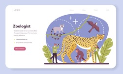 Zoologist web banner or landing page. Scientist exploring and studying fauna. Wild animal studying and protection, naturalist going on expedition to wild nature. Isolated vector illustration