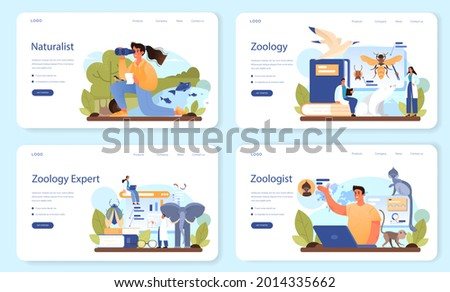 Zoologist web banner or landing page set. Scientist exploring and studying fauna. Wild animal studying and protection, naturalist going on expedition to wild nature. Isolated vector illustration Zdjęcia stock ©