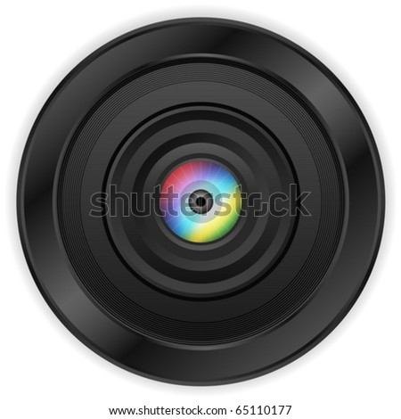 Zoom camera lens with eye on a white background. Vector illustration.