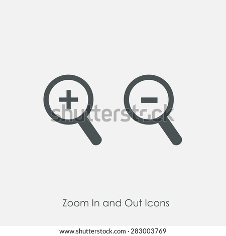 Zoom In and Zoom Out Icons. Simple zoom in, zoom out, magnifier glass icons, symbols. Vector illustration. Magnifying Glass Icon, magnifying glass, search icon, magnifying glass icon vector.