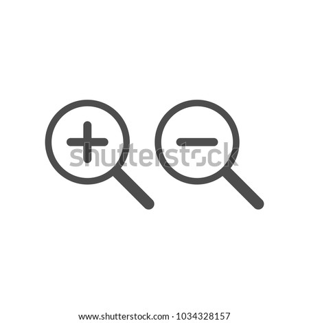 Zoom In and Zoom Out Icons. Vector illustration. Magnifying search icon. Flat trendy design.