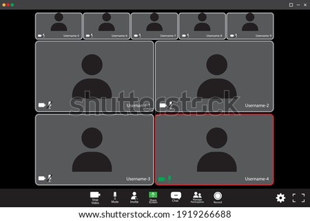 Zoom interface mockup. Communication concept. Nine participants. The four participants in the center are large. Stock image. EPS 10.