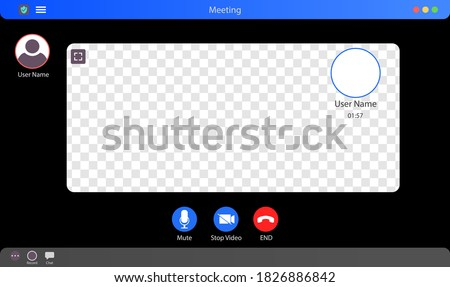 Zoom Interface Mockup. Video Call Interface Vector Illustration. Meeting App Interface Concept With Transparent Background. Video Conference. Put Your Content Under Background