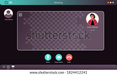 Zoom Interface Vector Illustration. Video Call Interface. Meeting App Interface Concept.  Photo stock ©