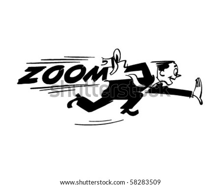 Zoom - Man Running Very Fast - Retro Clip Art