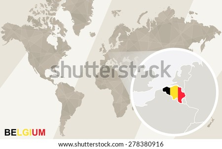 Free belgium map vector download free vector art stock graphics zoom on belgium map and flag world map gumiabroncs Choice Image