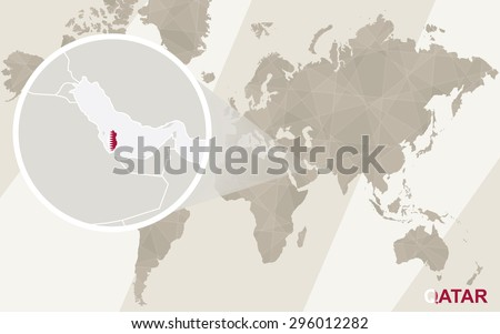Zoom on Qatar Map and Flag. World Map.